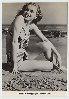 MODERN POSTCARD - Marilyn Monroe smiling at beach in bathing suit, bikini