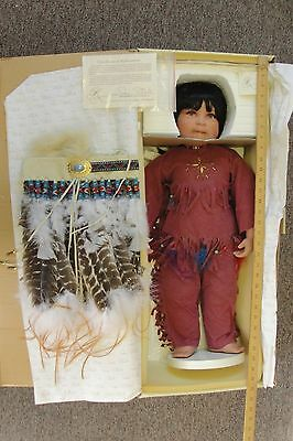 "Donna Rubert Little Chief Braveheart 28"" Life Like Indian Doll With Headband"