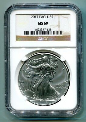 2017 American Silver Eagle Ngc Ms69 Classic Brown Label As Shown Premium Quality