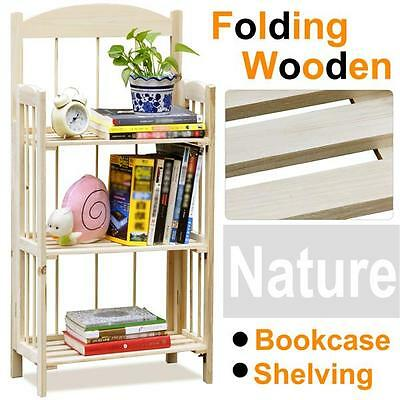 3-Shelf Folding Wodden Display Bookcase Home Office Storage Rack Shelving Unit