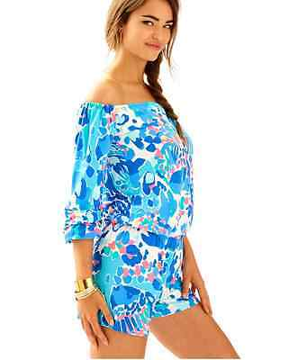 3e98f74a4747 LILLY PULITZER LANA OFF THE SHOULDER ROMPER Multi Hit The Spot XS-XL