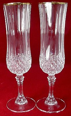CRISTAL d'ARQUES crystal LONGCHAMP GOLD pattrn fluted champagne set of 2!! 8-1/8