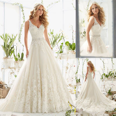 New White ivory Wedding Dress Bridal Gown Custom Size 4+6+8+10+12+14+16+18+
