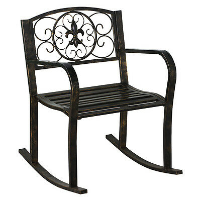 New Patio Metal Rocking Chair Porch Seat Deck Outdoor Backyard Glider Rocker