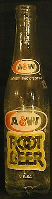 A & W ROOT BEER ACL Soda Bottle   10oz.  1974