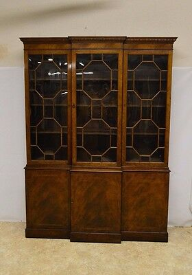 Baker Mahogany Inlaid 3 Door Bookcase Breakfront China Cabinet