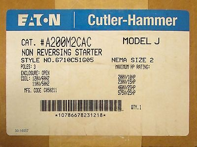 EATON CUTLER HAMMER Size 2 A200 Starter 110/120V A200M2CAC