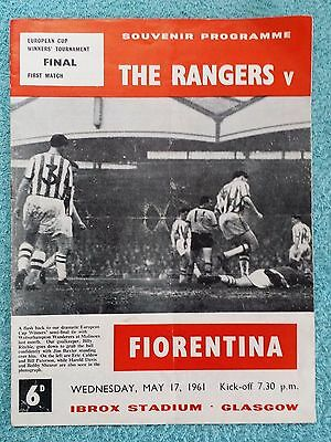 1961 - CUP WINNERS CUP FINAL PROGRAMME - RANGERS v FIORENTINA
