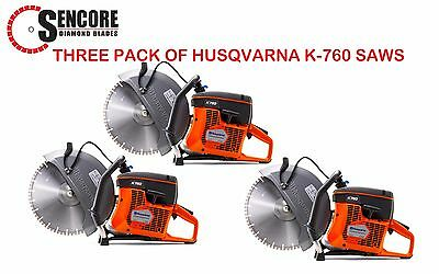 "3 Husqvarna New K760 14"" Concrete Cutoff Saws (Blade not included) FREE SHIPPING"