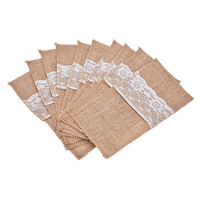 5x Natural Jute Lace Pockets Rustic Wedding Tableware Packaging Fork & Knife HF