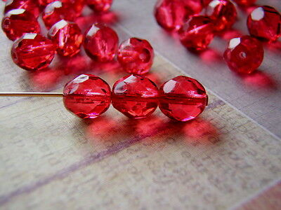 Cranberry Red Glass Beads 8mm Faceted Round Coated Czech Glass 20 Beads