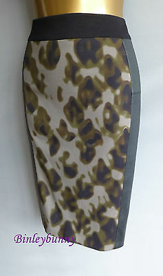 New KAREN MILLEN Camouflage & Faux Leather Pencil Skirt BNWT UK 10 or 12 SS069