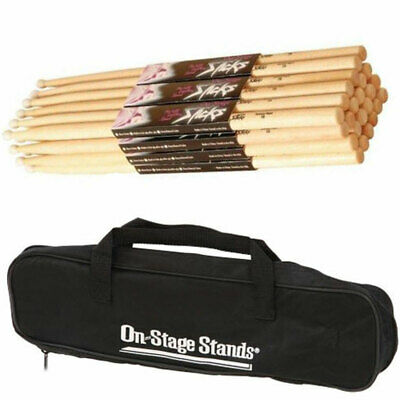 On Stage HN7A Hickory High Quality Drum Sticks w/Nylon Tip 12 Pair+ Bag