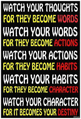 "13""×19"" Inspirational Motivational Poster: Watch Your Thoughts DESTINY Character"