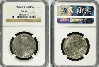 British India King George V 1916 (C) Silver Rupee NGC AU-58 Coin Silver
