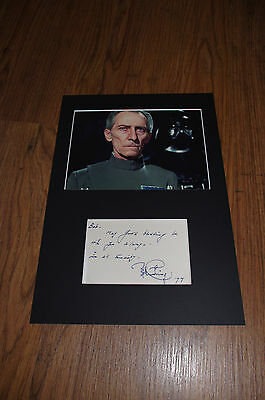 PETER CUSHING (+ ´94) signed Autogramm 20x30 cm STAR WARS Passepartout SELTEN