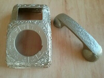 Vintage Rotory Phone Body & Handset Metal Cover Very Ornate Gold Unique Glam