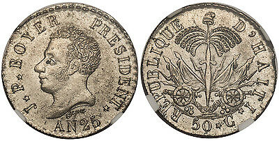 HAITI. (1828) // AN 25 AR 50 Centimes. NGC MS64 KM 20 Extremely rare quality