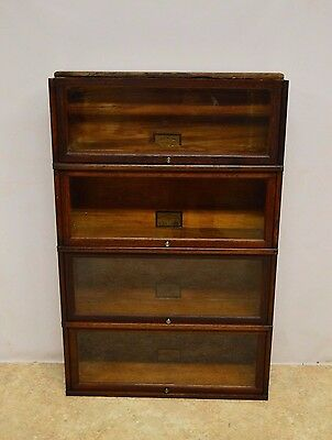 Globe Wernicke Antique Quartersawn Oak Stacking Barrister Bookcase 4 Stacks