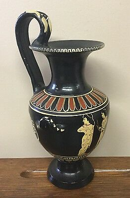 Olympia Greek Pottery Vase or Pitcher Handpainted Artist Signed Handled Greece