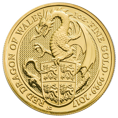 2017 U.K. 100 Pound 1 oz Gold Queen's Beast BU The Dragon