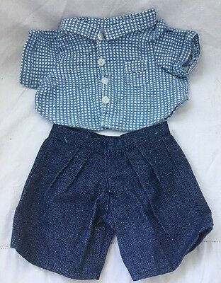 Vintage Cabbage Patch Kids Doll Sized DENIM SHORTS Blue White TOP Shirt NOS