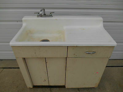 Vintage Cast Iron Porcelain Kitchen Farm Sink w Drainboard- SEARS Metal Cabinet