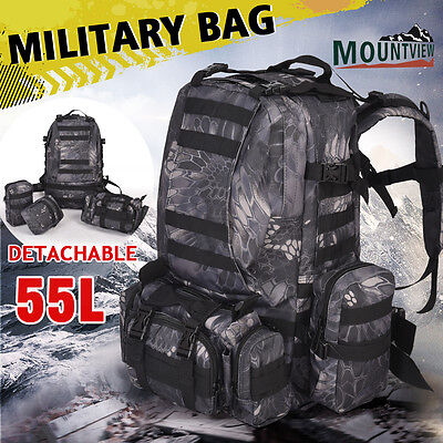 Mountview Outdoor 55L Military Bag Tactical Camping Hiking Trekking Backpack AU