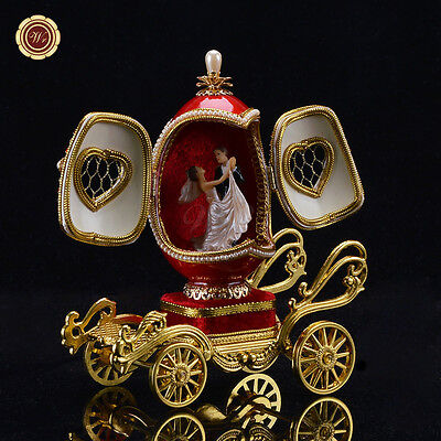 WR Gold Carriage Egg Carving Music Box Red Wedding Anniversary Gift for Wife 6''