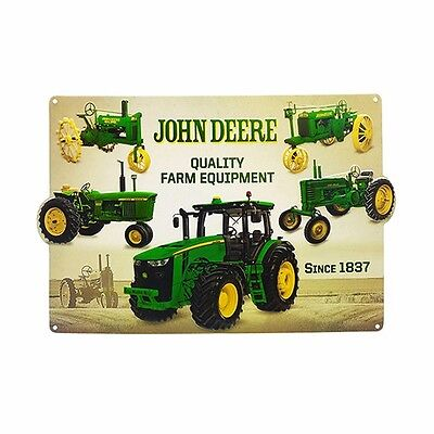 John Deere Embossed Tin Sign 18 x 12 - Evolution of the Tractor - NEW