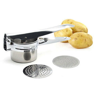 Premium Quality Stainless Steel Potato Masher Ricer with 2 Interchangeable Disks