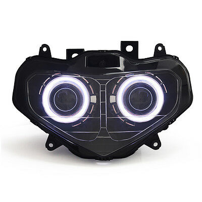 KT LED Angel Demon Eyes Headlight Assembly for Suzuki GSX-R600 2001-2003 White