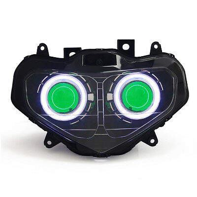 KT LED Angel Demon Eyes Headlight Assembly for Suzuki GSX-R1000 2000-2002 Green