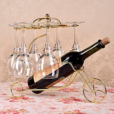 Creative Metal Wine Bottle Storage Champagne Rack Bar Stand Bracket Gold #3
