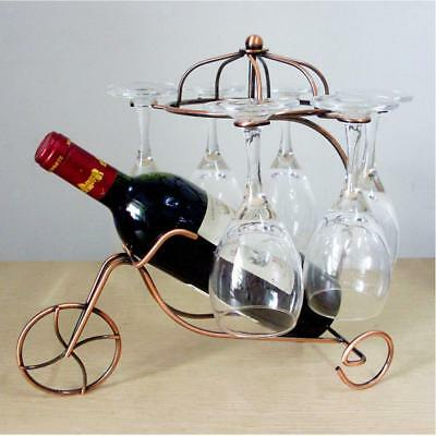 Creative Wine Bottle Storage Rack Bar Display Free Standing Bracket Copper#3