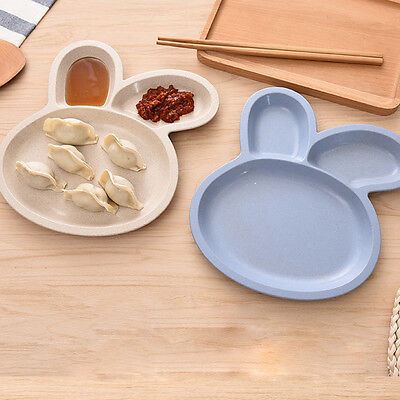 Natural Healthy Wheat Straw Cute Rabbit Shape Children Party Lunch Dinner Plate