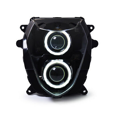 KT LED Angel Demon Eyes Headlight Assembly for Suzuki GSX-R1000 2003-2004 White