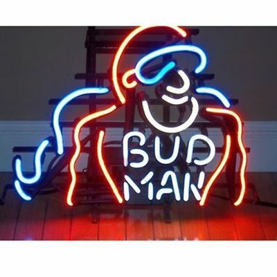 "New Bud Man Budweiser Man Cave Neon Sign 17""x14"" Ship From USA"