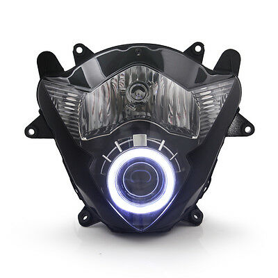KT LED Angel Demon Eyes Headlight Assembly for Suzuki GSX650F 2008-2009 White
