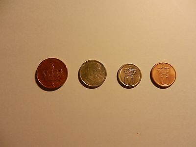 4 Circulated Norway Norwegian 50, 25, 10, 1 Cents Coins