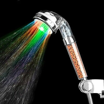 7 Colors Change LED Shower Head Tourmaline SPA Hand Held Filter Water Saving New