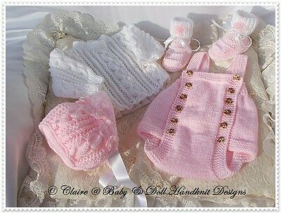 "Babydoll Handknit Designs Knitting Pattern Romper Set 16-22"" Doll Or 0-3M Baby"