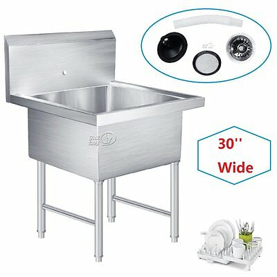 """30"""" Wide - Commercial Kitchen Utility Sink Stainless Steel Basin Drop In Single"""