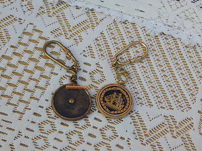 Antique Brass Vintage nautical Calender collectible Marine Nautical Key Ring