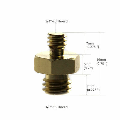 """New Double Male Threaded Screw Adapter 1/4"""" to 3/8"""" Convert Fr Camera Tripod"""