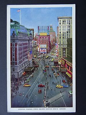 USA NEW YORK Times Square Looking towards SERVICE MEN'S CENTER c1950's Postcard
