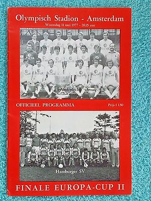 1977 - CUP WINNERS CUP FINAL PROGRAMME - ANDERLECHT v HAMBURG - V.G CONDITION