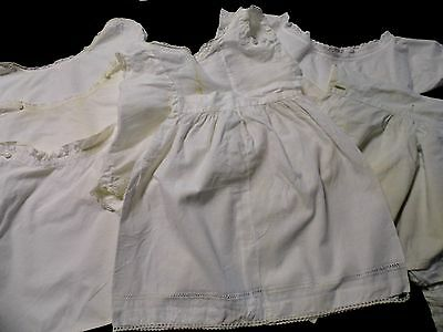 7 Lovely Victorian Baby Blouses Slip/Skirt Bloomers Crisp Bright White Dolls