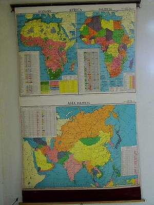 "Vintage Cram's Cloth Pull Down School Map Africa & Asia Pol./Ecom. HUGE 51""x 78"""