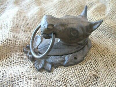 Large CAST IRON Horse Head Ring Hitching Post Barn Holder Lodge Decor Bathroom